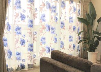 バラ、ブルー、カーテン