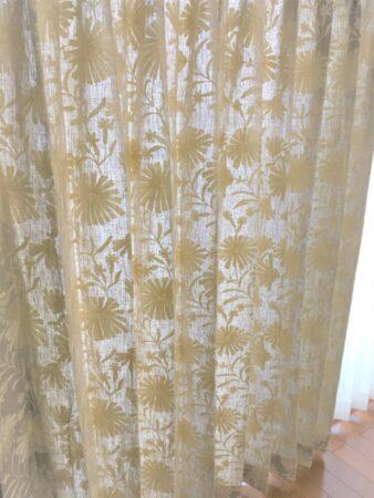 リネン、刺繡、自然素材、カーテン